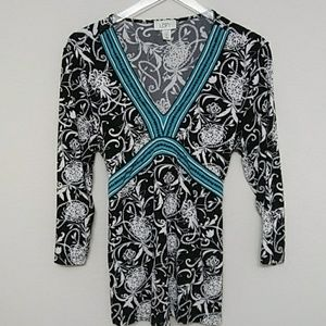 Ann Taylor Black White Turquoise & Floral